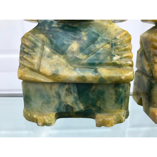 Gemstone Green and Yellow Carved Onyx Bookends - a Pair For Sale - Image 7 of 8
