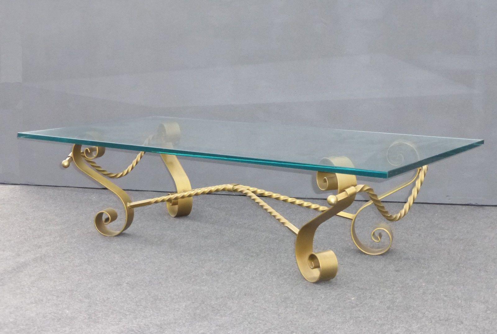 Vintage Spanish Revival Gilt Wrought Iron U0026 Glass Coffee Table   Image 4 Of  11