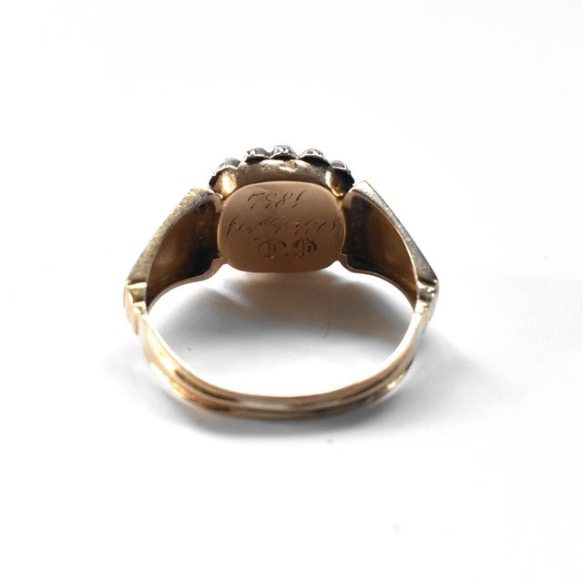 Susannah Carson 19th Century Lover's Eye Victorian Seed Pearl Ring For Sale - Image 4 of 7