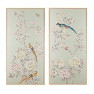 """Chatsworth House"" Simon Paul Scott for Jardins en Fleur Chinoiserie Hand-Painted Silk Diptych - a Pair For Sale"