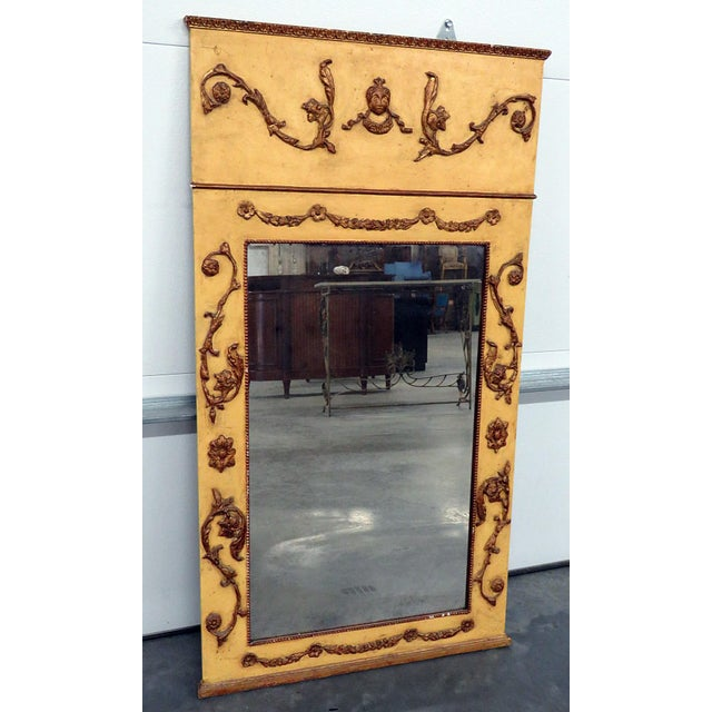 Gold Neoclassical Style Paint Decorated Console & Mirror For Sale - Image 8 of 13