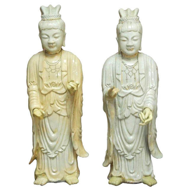 Pair of Chinese Glazed Ceramic Celestial Deities For Sale