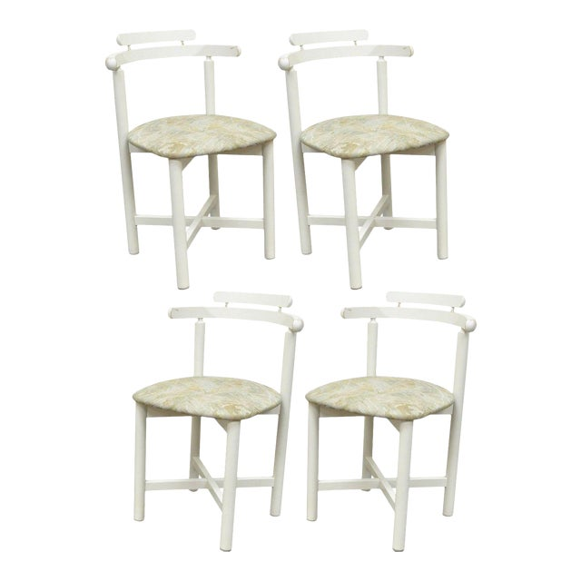 Set 4 Vintage Gangso Mobler Mid Century Danish Modern White Dining Room Chairs - Image 1 of 11