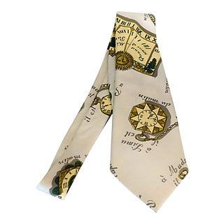 Vintage Fornasetti Silk Tie W/ Timepiece Motif For Sale