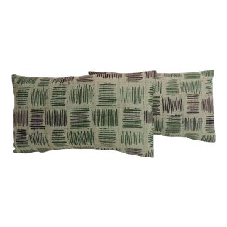 Pair of Vintage Hand Blocked Green and Brown Decorative Lumbar Pillows For Sale