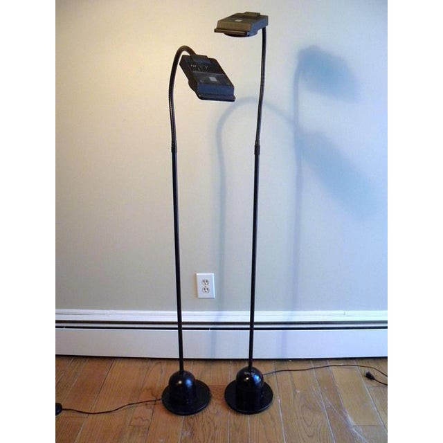 Metal Vintage Modern Electrix Halogen Reading Library Floor Lamps - A Pair For Sale - Image 7 of 10