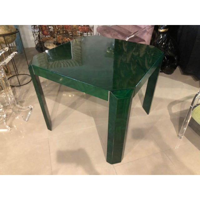 1970s Vintage Hollywood Regency Faux Malachite Chrome Game Dining Table For Sale - Image 5 of 13