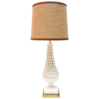 Sculptural Porcelain & Brass Table Lamp