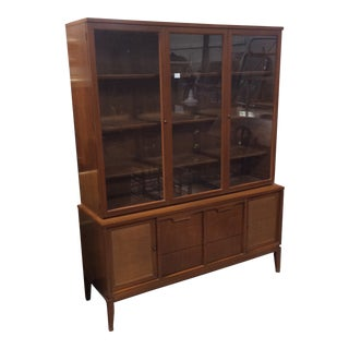 1960s Mid Century Modern Walnut China Cabinet For Sale