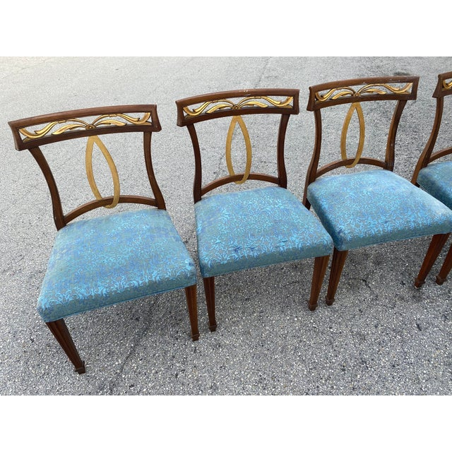 Hollywood Regency Late 20th Century Baker Furniture Curved Italian Gold Leaf Regency Dining Chairs, Set of Six For Sale - Image 3 of 13
