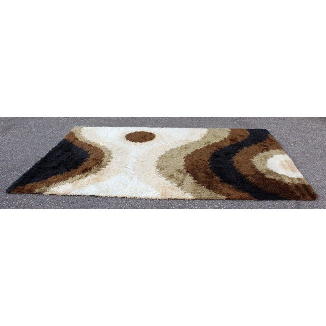 For your consideration is a funky, shag wool area rug, circa the 1960s/1970s. In excellent condition. The dimensions are...