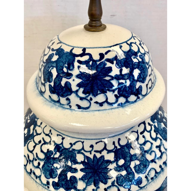 Metal Chapman Blue and White Chinoiserie Porcelain Lamp With Finial For Sale - Image 7 of 10