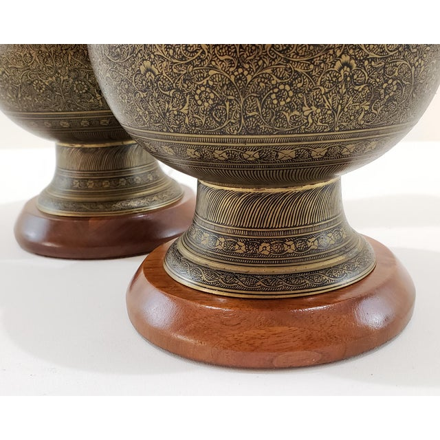 Mid-Century Arabesque Brass Lamps - a Pair For Sale - Image 4 of 13