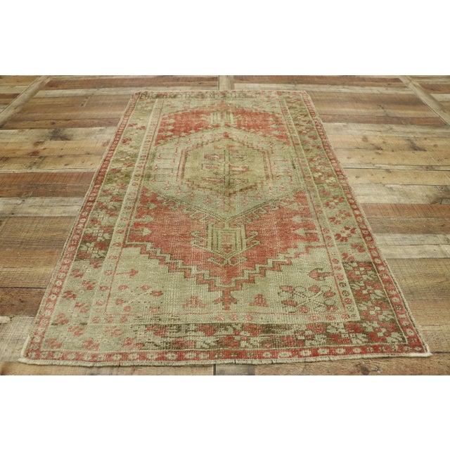 Textile Distressed Vintage Turkish Oushak Rug - 3′4″ × 5′7″ For Sale - Image 7 of 10