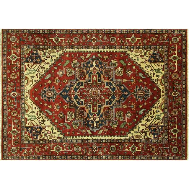 "Red Heriz Serapi Wool Rug - 10' x 14'1"" - Image 1 of 10"