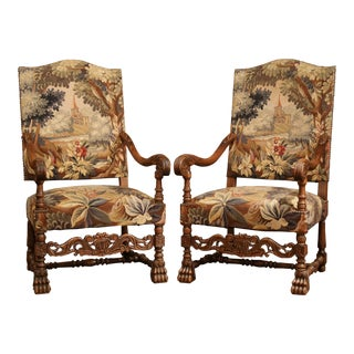 Early 20th Century Pair of French Louis XIII Armchairs With Aubusson Tapestry For Sale