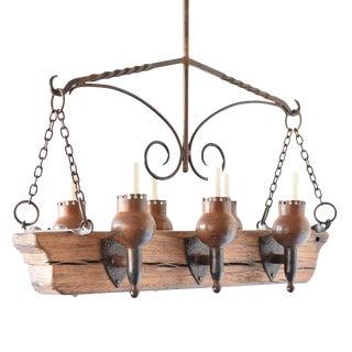 Rustic Wood Beam Chandelier For Sale