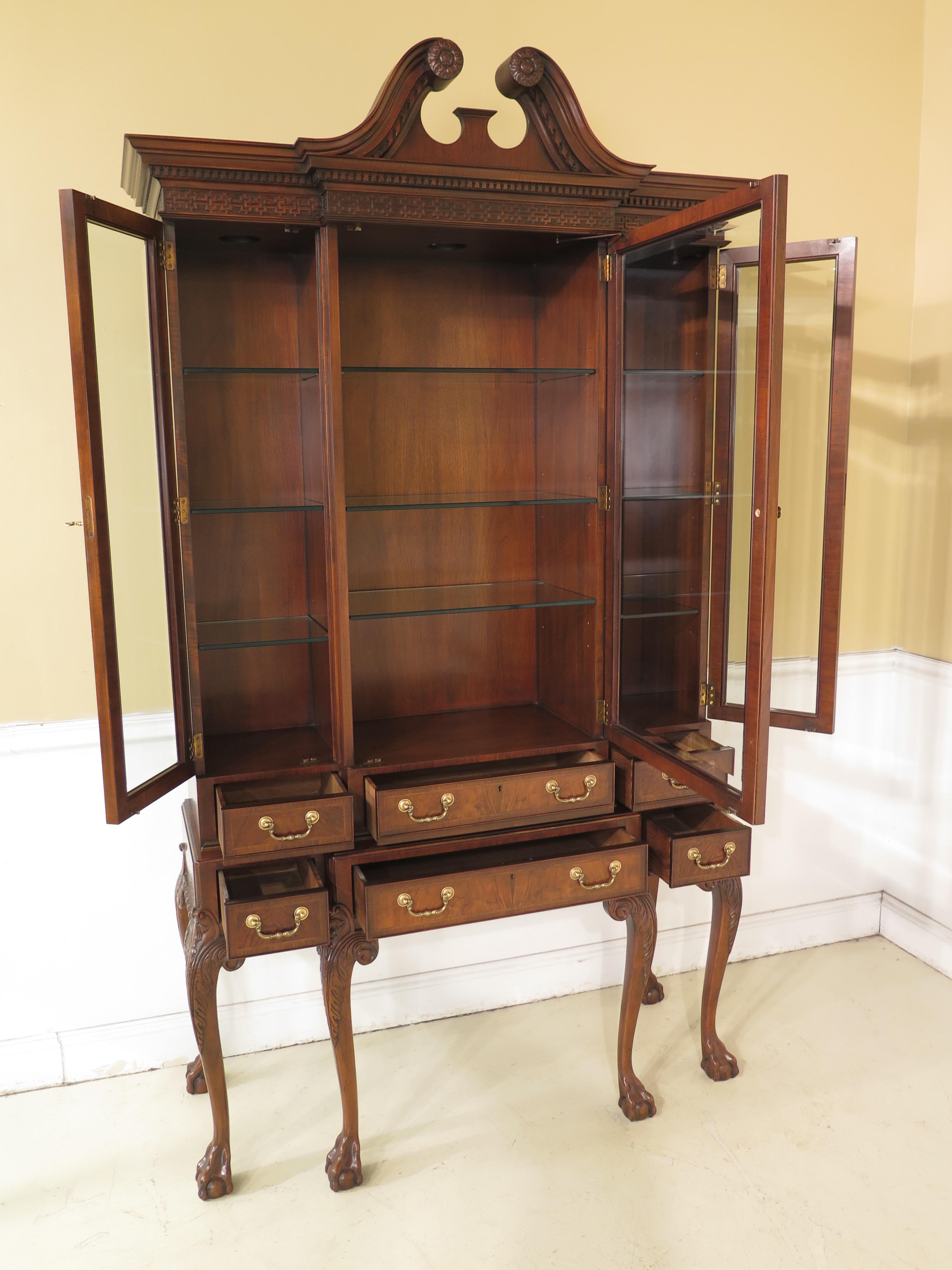 Baker Stately Homes Claw Foot Walnut China Cabinet   Image 4 Of 13