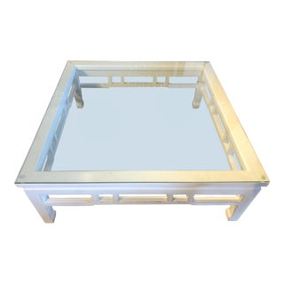 Asian Modern White Lacquer Glass Top Coffee Table For Sale