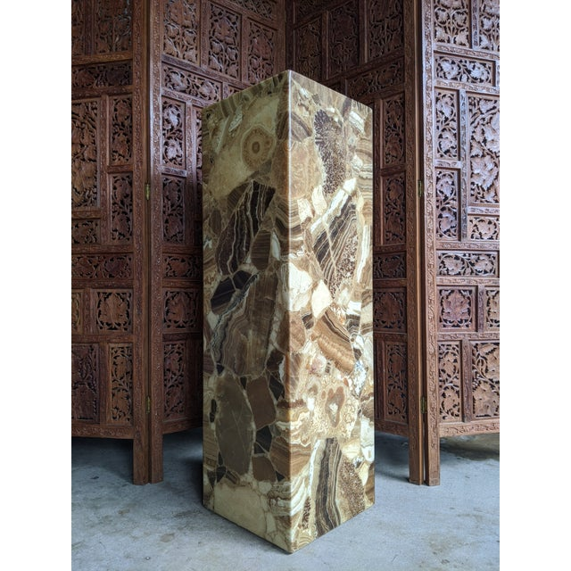 Mid-Century Modern Arturo Pani for Muller of Mexico Onyx Stone Pedestal For Sale - Image 3 of 13