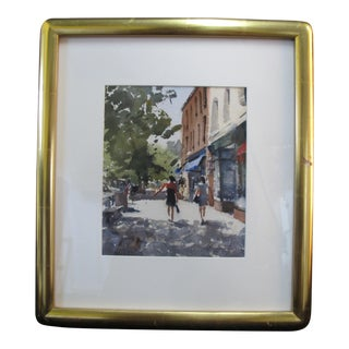 Paul Rafferty New York Shopping on Main St Gilt Framed Watercolor Painting For Sale