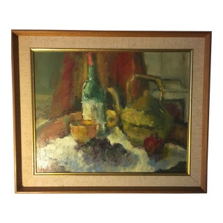 Vintage Still Life Signed Oil Painting on Canvas For Sale