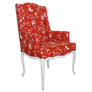 Floral Orange & White Accent Chair For Sale