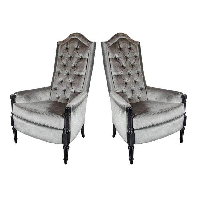 Pair of Mid-Century Modernist Occasional Chairs in the Manner of James Mont For Sale