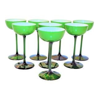 1960's Carlo Moretti Mid-Century Cased Melon Champagne Coupes - Set of 8 For Sale