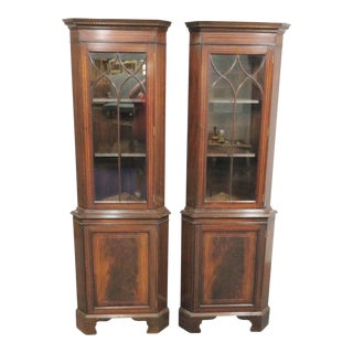 Georgian Mahogany Inlaid Corner Cabinets - a Pair