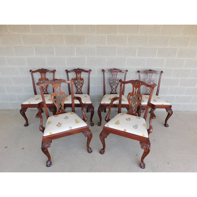 Quality Chippendale Style Mahogany Ball & Claw Foot Side Chairs - Set of 6 For Sale - Image 13 of 13