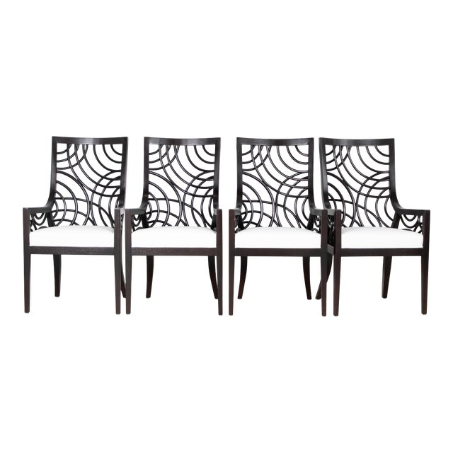David Francis Manhattan Dining Armchairs- Set of 4 For Sale