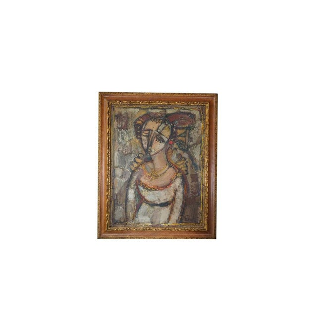 Brown Vintage Ukrainian Abstract Oil Painting of a Woman For Sale - Image 8 of 8
