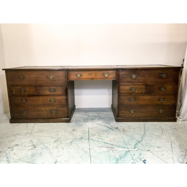 19th-C. English Oak Map Chest Desk - Image 4 of 9