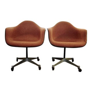 Eames Upholstered Swivel Shell Armchair With Rolling Base by Herman Miller-2 Available For Sale