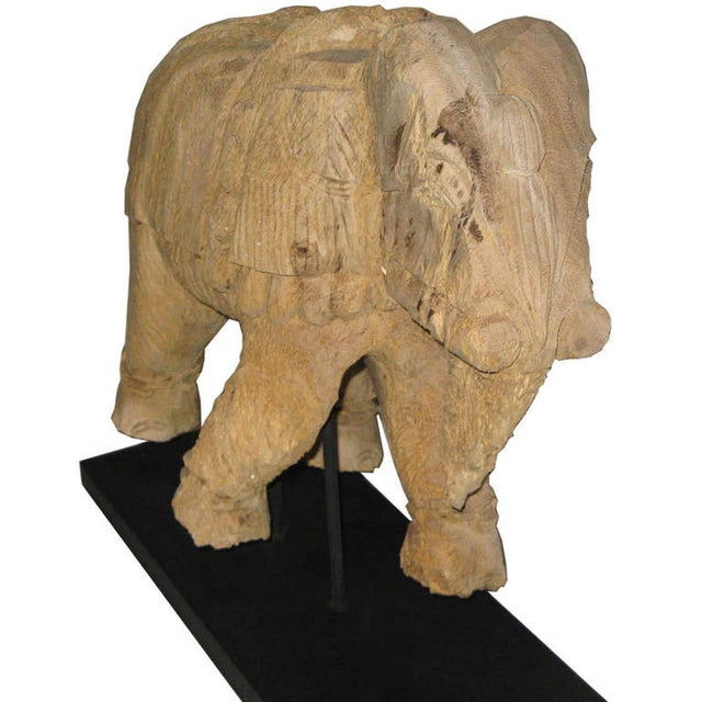 Thai Carved Wood Elephant For Sale - Image 5 of 6