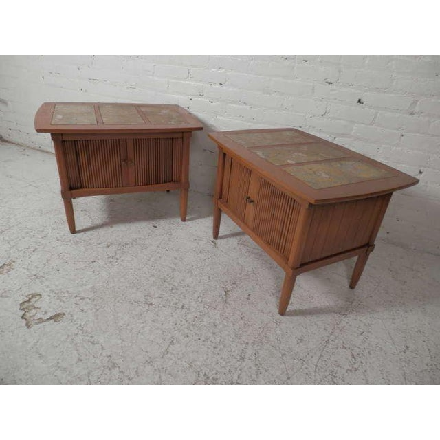 Mid-Century Modern Marble Top End Tables With Tambour Doors - a Pair For Sale - Image 3 of 8