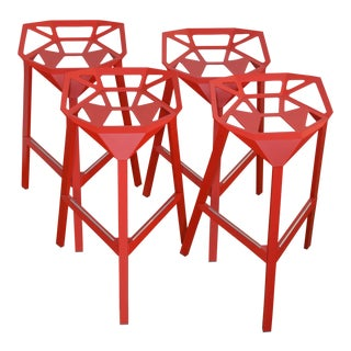 Red Stacking Bar Stools - Set of 4 For Sale