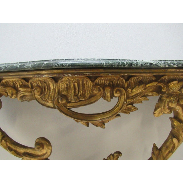 Antique French Carved Marble Top Wall Shelf Console - Image 3 of 11