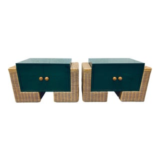 Mid Century Modern Rattan Nightstands, 1970s - a Pair For Sale