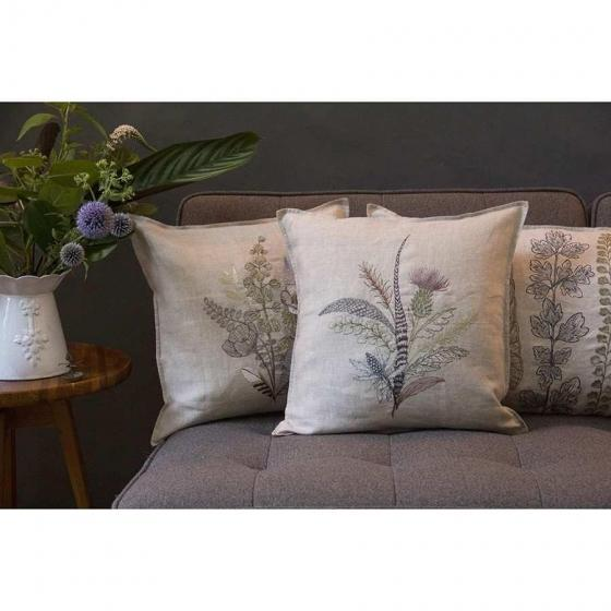 An autumnal bouquet of gathered thistles, greenery and feathers. A bundle of unlikely components, our Thistle pillow adds...