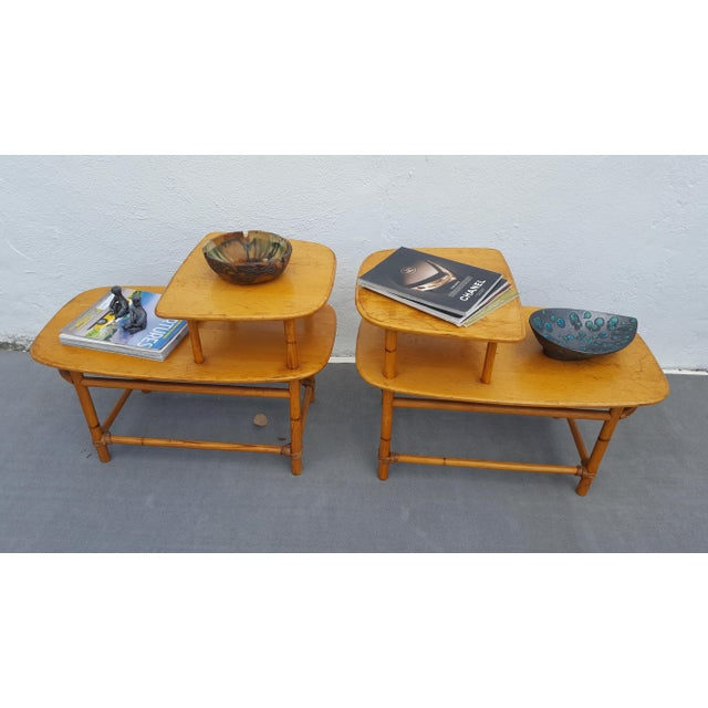 Mid-Century Modern Heywood - Wakefield Two Tier Side Tables a Pair For Sale - Image 3 of 13