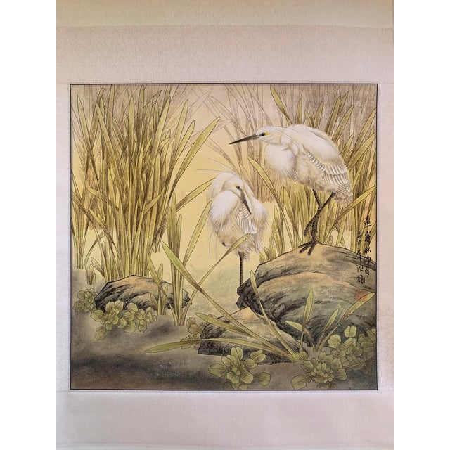 "Original contemporary Chinese scroll painting of a pair of egrets in bushes by artist Chen Mei. Painting size: 25""x25""."