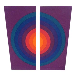 1960's Vintage Fabric Dyptych Art Panels by Verner Panton- A Pair For Sale