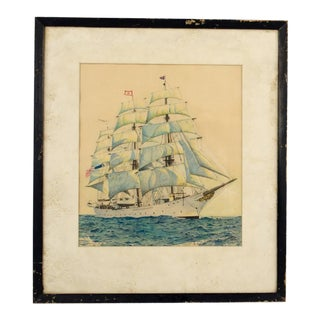 "1945 Nautical Pastel on Paper ""Morning on the Seven Seas"" by Otto Nauth For Sale"
