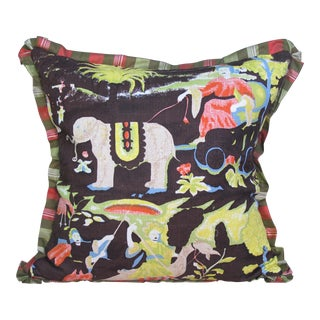 Boho Chic Style Pillow Made with Vintage Fabric For Sale