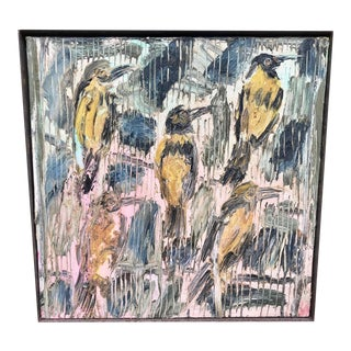 1995 Expressionist Hunt Slonem Oil Painting on Canvas, Five Birds For Sale