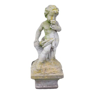 Salvaged Concrete Cherub Statue For Sale