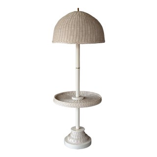1970s Vintage White Wicker Floor Lamp With Table Shelf For Sale