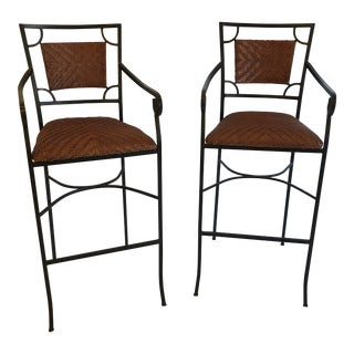 Iron and Woven Leather Bar Stools - a Pair For Sale